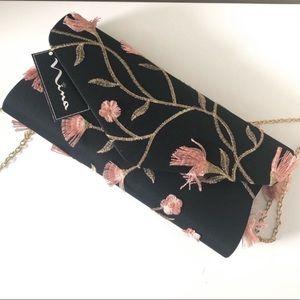 Nina NY Black Satin Floral Embroidered Crossbody